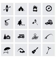 Black camping icons set vector