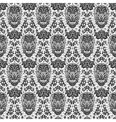 Black seamless lace skull vector