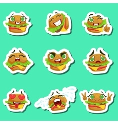 Burger cute emoji stickers set on green background vector