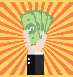 businessman is holding money vector image