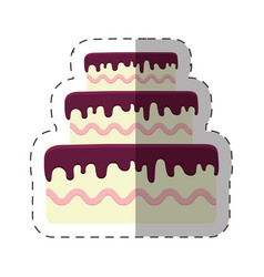 Cake dessert bright shadow vector