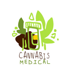 Cannabis medical label logo graphic template vector