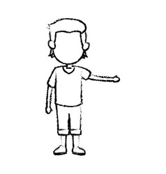 cartoon boy kid hand gesture image vector image