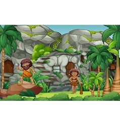 Cavemen living in the stone house vector