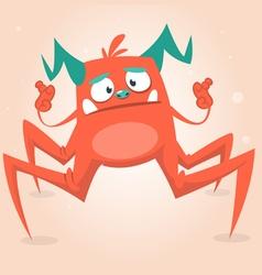 Cute cartoon monster spider halloween vector