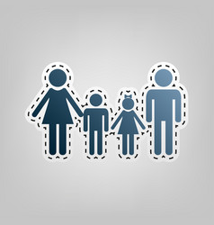 Family sign blue icon with outline for vector