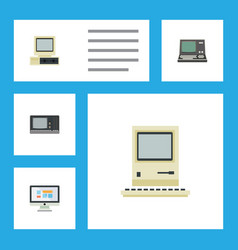 Flat icon laptop set of technology computer vector