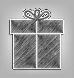 Gift sign pencil sketch imitation dark vector