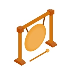 Gong icon isometric 3d style vector