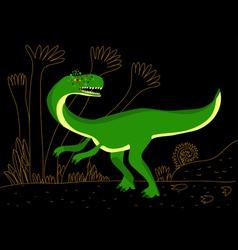 green carnivore dinosaur vector image vector image