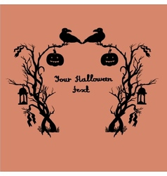 Halloween frame with busheslanternsrib bonscrows vector image vector image