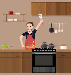 Man in kitchen cooking stir fry preparing food vector