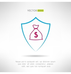 Money bag in a shield icon deposit safety concept vector