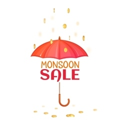 Monsoon salle banner with umbrella vector image vector image