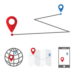 navigation symbol set with globe and mobile phone vector image