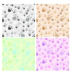 Pet legs imprint seamless set vector image