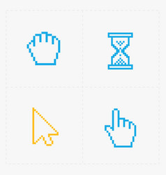 Pixel colorful cursors icons on white vector