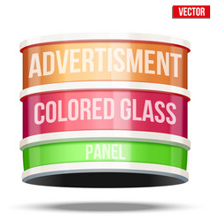 Round glass panel for advertising vector