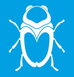 Scarab beetle icon white vector