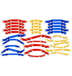 set of blue red golden ribbons on white vector image vector image