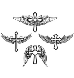 Set of the cross with wings vector image vector image