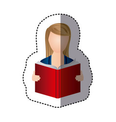 Sticker colorful woman reading book icon vector