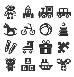 toys icons set on white background vector image vector image