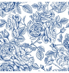 Vintage seamless pattern with garden roses vector image