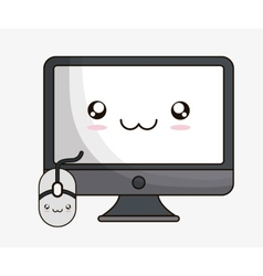 Computer kawaii cartoon technology design vector