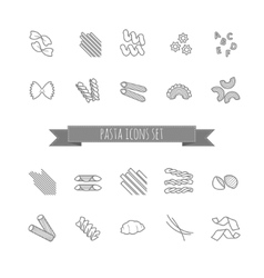 Set of various pasta shapes vector