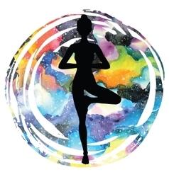 Women silhouette Tree yoga pose Vrikshasana vector image
