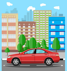 Urban cityscape with red car vector