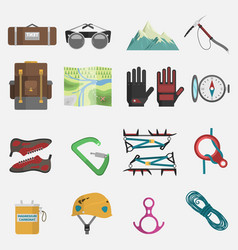 climbing icons set vector image