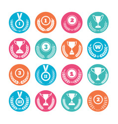 Winner cups and awards wreaths icons vector
