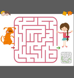 maze game with girl and dog vector image