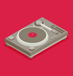 Dj deck isometric flat vinyl player vector