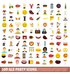 100 ale party icons set flat style vector