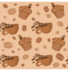Seamless coffee and cupcakes vector