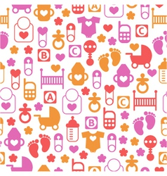 Seamless baby pattern endless background vector