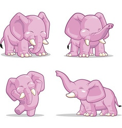 Elephant in several poses standing dancing vector