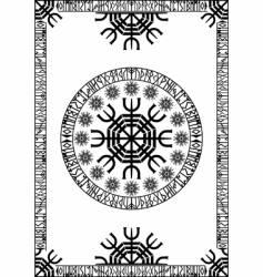 viking runic panel vector image