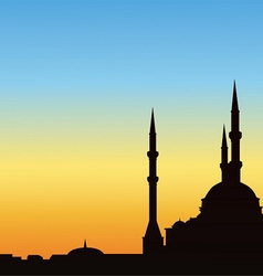 Ancient mosque against the blue sky vector