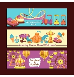 Amusement park banners vector
