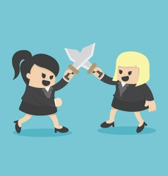 Business woman fight with sword vector
