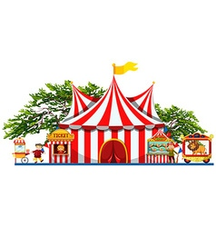 Amusement park with tent and vendors vector