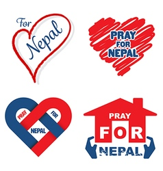 Pray for nepal banner set vector