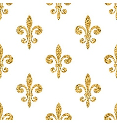 Golden fleur-de-lis seamless pattern white vector