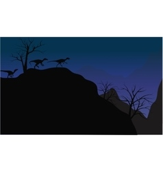 Silhouette of eoraptor in cliff vector