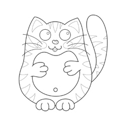 Cartoon smiling stoutish gentle kitty with stripes vector