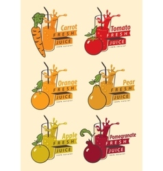 Fruits and glass for fresh juice vector